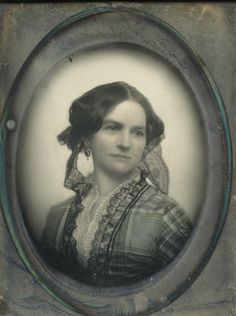 beautiful image -  Hand Coloured Daggerotype: Unknown Lady (Plaid Silk Waist)  1845–61  Southworth and Hawes, American, 1843–62