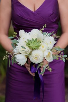 white and green bouquet with succulents and dahlias Kirsten Smith Photography