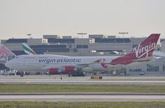 """Virgin Atlantic's """"Lady Penelope"""" 747-400 in her birthday suit at LAX on 5 January 2013"""