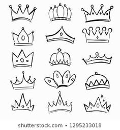 Similar Images, Stock Photos & Vectors of Crown logo graffiti icon. Black elements isolated on white background.