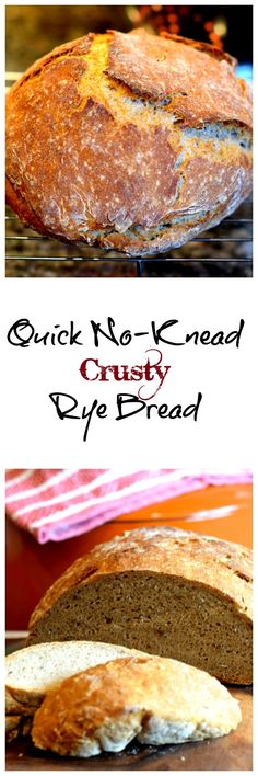 Make this quick no knead crusty rye bread recipe using rye and regular flour. No need to wait 18 hours for it to sit, no need to knead it. Quick and easy. Rye Bread Recipes, No Knead Bread, Dutch Oven Rye Bread Recipe, Sourdough Recipes, Bread Shop, Easy Bread, Artisan Bread, Bread Rolls, Recipes