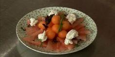 Salade de melon et pastèque au basilic, chèvre frais