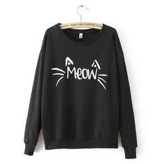 Casual Cat Whiskars And Ears Sweatshirt