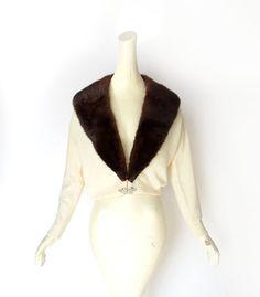 1950s cashmere cardigan with mink collar, by Bernhard Altmann