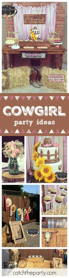 Don't miss this fabulous 50th Cowgirl Birthday party! Love the flowers decorating the pretty cake! See more party ideas at CatchMyParty.com