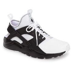 Men's Nike Air Huarache Run Ultra Se Sneaker ($130) ❤ liked on Polyvore featuring men's fashion, men's shoes, men's sneakers, mens monk strap shoes, mens velcro strap sneakers, mens sneakers, mens shoes and nike mens sneakers