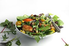Peach and Basil Salad with Fried Goat Cheese