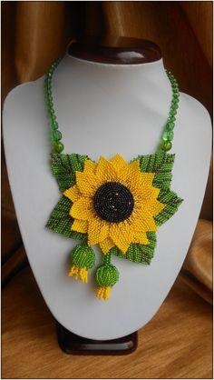 Set Beaded Sunflower by BeadedJewelryVirunia on Etsy