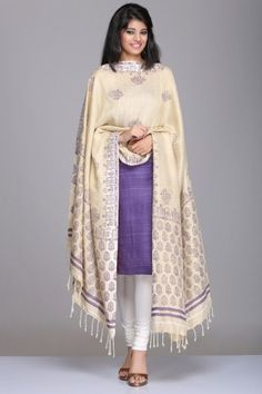 Purple & Beige Unstitched Matka Silk & Khadi Cotton Suit With Floral & Paisley Motif Hand Block Print On The Dupatta