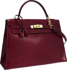 Hermes 32cm Rouge Vif Salvator Lizard Sellier Kelly Bag with Gold ...