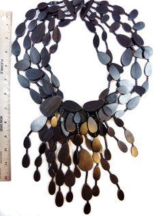 Gerda Lynggaarde MONIES RUNWAY BLACK WOOD Necklace Copenhagen DENMARK No Reserve