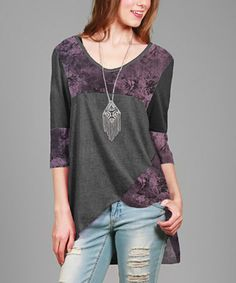 Gray & Purple Floral Hi-Low Top #zulily #zulilyfinds