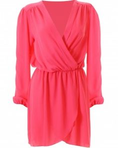LOVE HOT PINK LONG SLEEVE WRAP DRESS  Price: £34.00