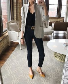 Express dresses, j crew outfits, blazer outfits, winter fashion outfits, sp Yellow Shoes Outfit, Grey Blazer Outfit, Flat Shoes Outfit, Look Blazer, Yellow Blazer, Yellow Flats, White Shoes, Casual Work Outfits, Business Casual Outfits