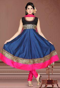 Dark Blue Chanderi Art Silk Readymade Anarkali Churidar Kameez Online Shopping: KLS120