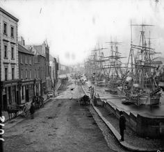 Sailing ships tied up at North Quay, Drogheda, Louth, Ireland, Old Pictures, Old Photos, Vintage Photos, Ireland Pictures, Famous Photos, Antique Photos, Amazing Photos, Edinburgh, Fishing Photography
