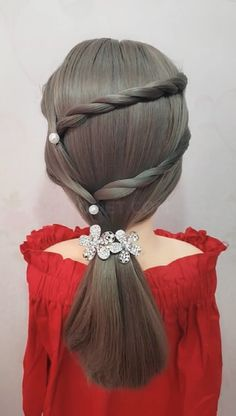 Two-stranded Braided Hair Style - DIY Frisuren lang Braided Hairstyles For School, Easy Mens Hairstyles, Creative Hairstyles, Pretty Hairstyles, Hair Ponytail Styles, Ponytail Hairstyles, Long Hair Styles, Hairstyles Videos, Hair Upstyles
