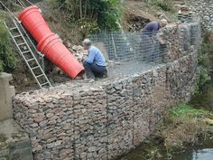 high gabion wall in construction