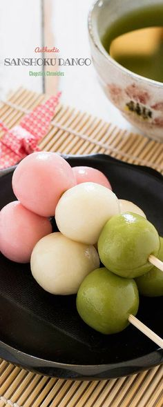 Sanshoku Dango. Looks so delicious! In Japan, this is usually sold near shinto shrines, and can be sweet or savory.