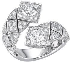 """""""Signature Duo"""" rings in18K white gold set withdiamonds - """"Signature Duo"""" ring in18K white gold set with158 brilliant–cut diamonds for atotal weight of2.6 carats"""