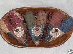 3 Primitive Faux Patchwork Live Love Laugh Valentine Heart Bowl Fillers Ornies   eBay