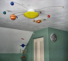 Solar System Ceiling Light with Revolving Planets for a Planet Baby Nursery or Kids' Room Theme: The man that designed this solar system ceiling light is an aerospace engineer (read: a rocket scientist). He wanted to share his love of space with our