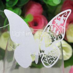 découpé au laser carte d'endroit de mariage pour la carte papillon verre de vin (jeu de 12)