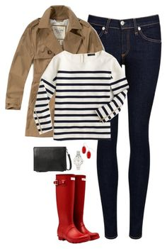 """Trench coat, stripes & red Hunter boots"" by steffiestaffie ❤ liked on Polyvore featuring rag & bone/JEAN, Abercrombie & Fitch, Hunter, J.Crew, MANGO, FOSSIL, Kendra Scott, women's clothing, women and female"