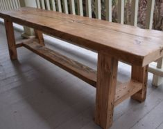 Reclaimed Wood Bench, Entryway Bench, Barn Wood Bench This unique rustic bench is made out of both reclaimed wood salvaged from a northeast . Rustic Wood Bench, Reclaimed Wood Benches, Farmhouse Bench, Wood Table, Salvaged Wood, Rustic Buffet, Rustic Sofa, Trestle Table, Console Table