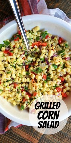 Grilled Corn Salad recipe from RecipeGirl.com #grilled #corn #salad #recipe #RecipeGirl Fun Easy Recipes, Healthy Dinner Recipes, Appetizer Recipes, Vegetarian Recipes, Easy Meals, Delicious Recipes, Healthy Food, Appetizer Ideas, Summer Recipes