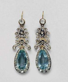 Aquamarine Diamond earrings  1800 CA