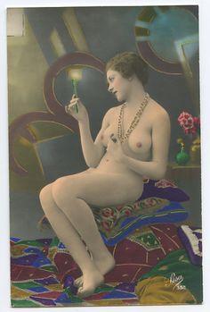1920s vintage hand tinted nude postcard