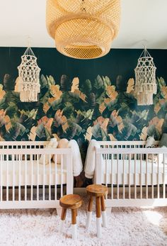 In the Nursery with Palms to Pines is part of In The Nursery With Palms To Pines Project Nursery - We are touring the Palms to Pines nursery today from Jen Hawkins This boho nursery space for her twin girls is both stylish and dramatic Twin Baby Rooms, Baby Bedroom, Baby Room Decor, Nursery Room, Nursery Decor, Girl Nursery, Nursery Ideas, Twin Room, Kids Bedroom