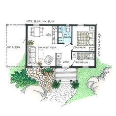 Tiny Living, Living Spaces, Beach Cottage Style, Sims House, Cabin Plans, Small House Plans, Beach Cottages, Smart Home, Building A House