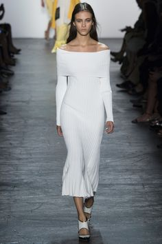 White Off the Shoulder Long Sleeve Dress - Prabal Gurung Spring 2016 Ready-to-Wear Collection Photos - Vogue