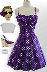 50s Style PURPLE with White POLKA DOTS ROUCHED Bust Bombshell PINUP Sun Dress