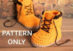 This listing is for the PATTERN only, not the finished product.  Introducing the Woodsmen construction boot. Pattern size available in 0-3mos (3.4)