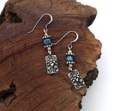 Blue Jasper Stone Silver and Rose Gold Dangle Earrings Boho Western by L. Rene Designs, $35.00