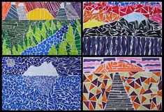 Mosaic landscapes. First paint your colors, then cut them out!
