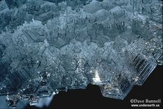 """Hexagonal ice crystals on the ceiling in a limestone cave. These form from water vapor.  - """"The Virtual Cave: Ice Formations"""""""