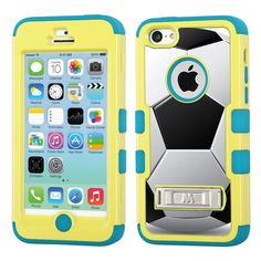 One Tough Shield ® Hybrid 3-Layer Kick-Stand Case (Yellow/Teal) for Apple iPhone 5C - (Soccer) OneToughShield http://www.amazon.com/dp/B00HTHBWV8/ref=cm_sw_r_pi_dp_Zww0ub04TRRVK