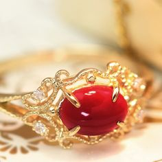【数量限定】土佐沖産血赤珊瑚ダイヤモンド18Kゴールドリング指輪・ドゥクレシア18金K18稀少赤サンゴ赤さんご天然0.55ctアップ
