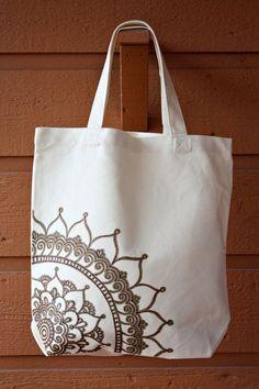 Cream Tote Bag Book Bag Beach Bag with Brown Mandala by ibleedheART, SOLD *soo inspired by this! Diy Bag Designs, Painted Bags, Diy Tote Bag, Embroidery Bags, Jute Bags, Fabric Bags, Reusable Bags, Cotton Bag, Bag Tutorials