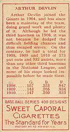 1911 T205 Gold Border #46 Arthur Devlin Back