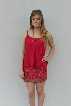 Embellished Skirt Popover Dress