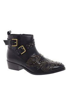 Bronx Leather Studded Buckle Boot