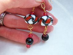 Red White Black Earrings Doodaba Geometric Lampwork Glass Dangle Earrings Black Earrings, Dangle Earrings, Unique Necklaces, Unique Jewelry, Rhinestone Belt, Red Gold, Vintage Ladies, Glass, Etsy