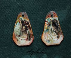 painting metallic raku swirl copper sticks enamel with glass lampwork jewelry supplies 2pc 4ophelia
