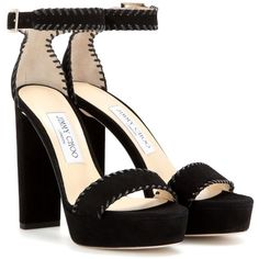 Jimmy Choo Holly 120 Platform Suede Sandals (€770) ❤ liked on Polyvore featuring shoes, sandals, heels, zapatos, black, suede shoes, jimmy choo, black suede sandals, black heeled sandals and black suede shoes