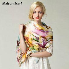 de la manera larga infinito de satén de seda 100 bufanda de las mujeres 2014-Otras Bufandas y Chales-Identificación del producto:1083636290-...